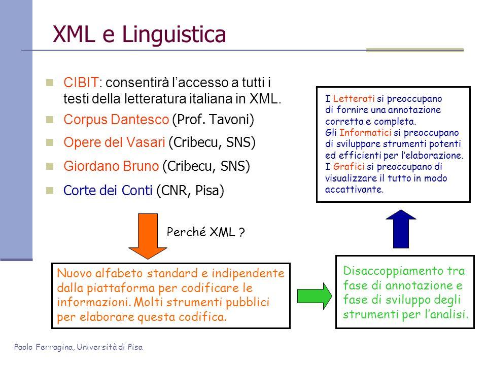 XML e Linguistica CIBIT: consentirà l'accesso a tutti i testi della letteratura italiana in XML. Corpus Dantesco (Prof. Tavoni)