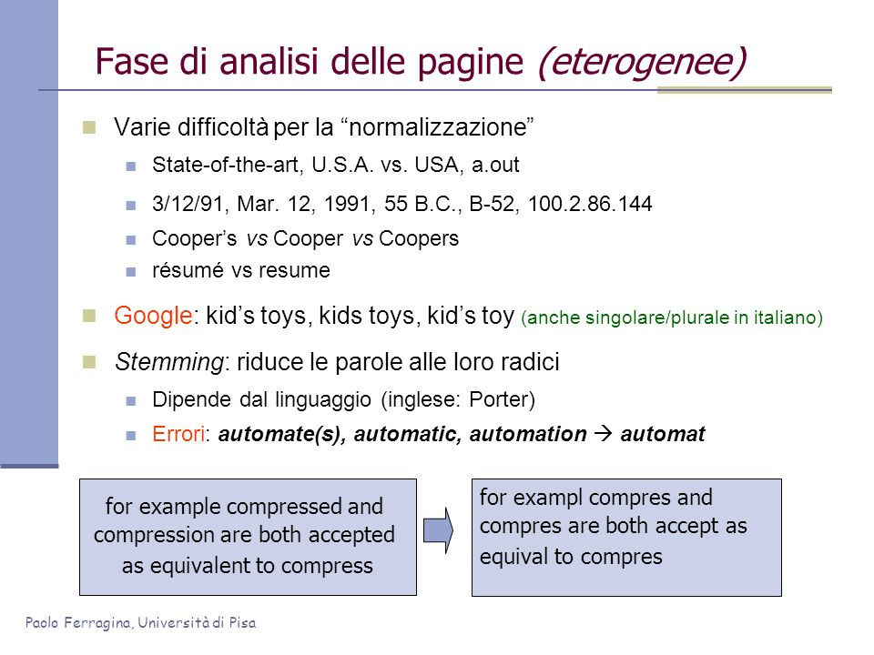 Fase di analisi delle pagine (eterogenee)