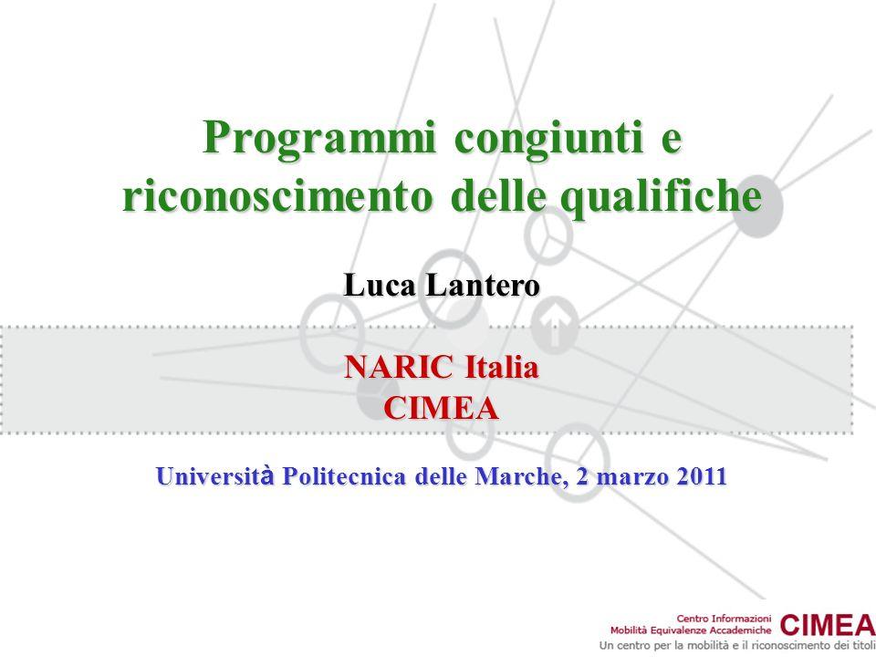 Programmi congiunti e riconoscimento delle qualifiche