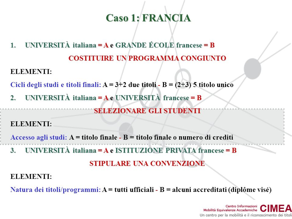 Caso 1: FRANCIA UNIVERSITÀ italiana = A e GRANDE ÉCOLE francese = B