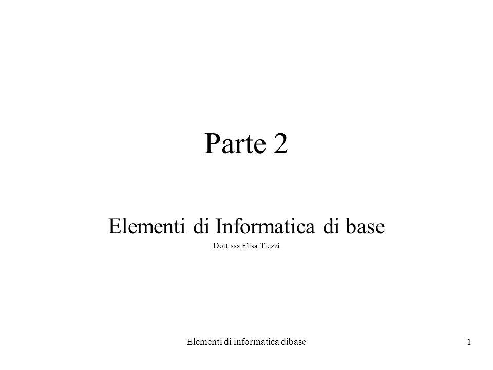 Elementi di Informatica di base Dott.ssa Elisa Tiezzi