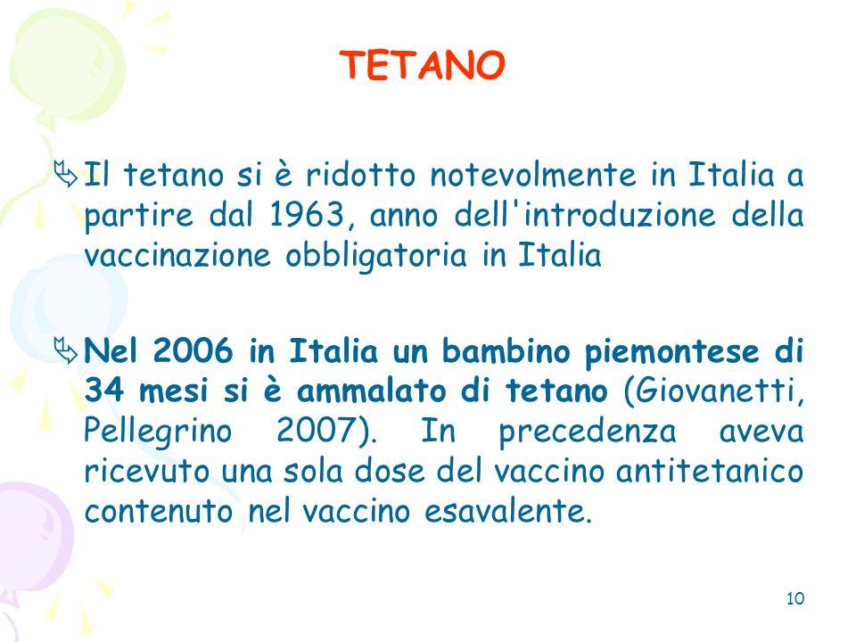 TETANO Il tetano si è ridotto notevolmente in Italia a partire dal 1963, anno dell introduzione della vaccinazione obbligatoria in Italia.