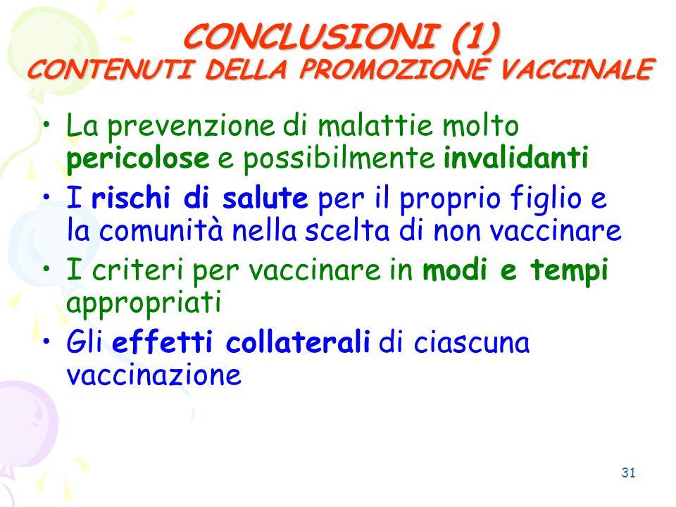 CONCLUSIONI (1) CONTENUTI DELLA PROMOZIONE VACCINALE