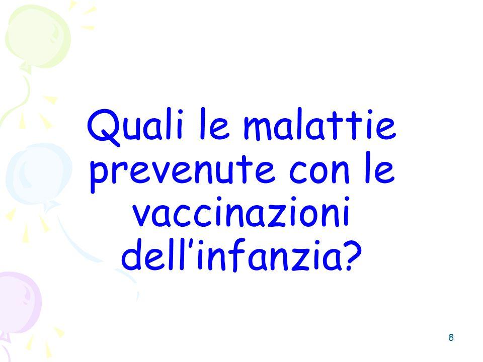 Quali le malattie prevenute con le vaccinazioni dell'infanzia