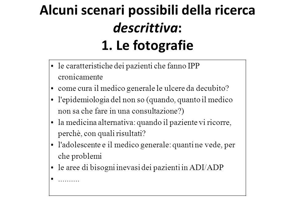 Alcuni scenari possibili della ricerca descrittiva: 1. Le fotografie