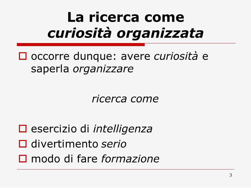 La ricerca come curiosità organizzata