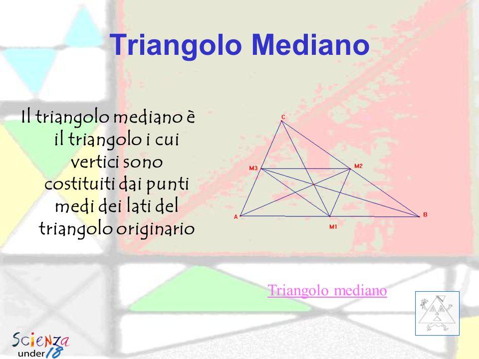 Triangolo Mediano Il triangolo mediano è il triangolo i cui vertici sono costituiti dai punti medi dei lati del triangolo originario.