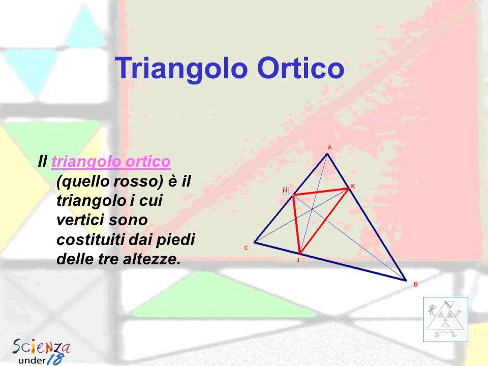 Triangolo Ortico Il triangolo ortico (quello rosso) è il triangolo i cui vertici sono costituiti dai piedi delle tre altezze.