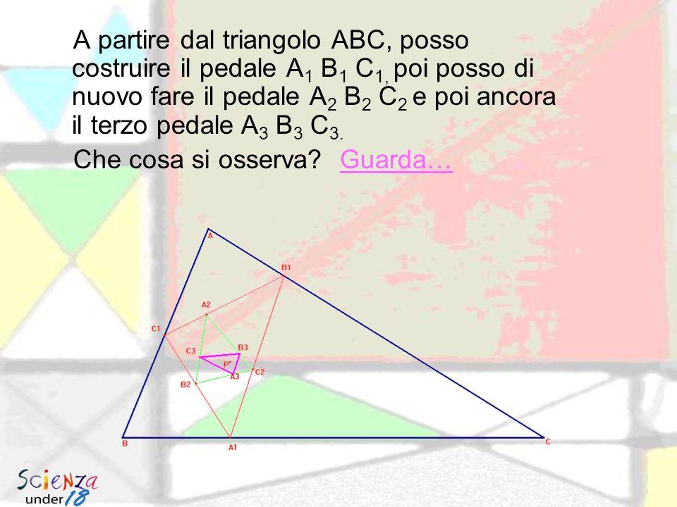 A partire dal triangolo ABC, posso costruire il pedale A1 B1 C1, poi posso di nuovo fare il pedale A2 B2 C2 e poi ancora il terzo pedale A3 B3 C3.