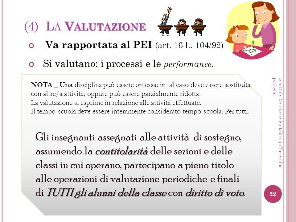 (4) La Valutazione Va rapportata al PEI (art. 16 L. 104/92) Si valutano: i processi e le performance.