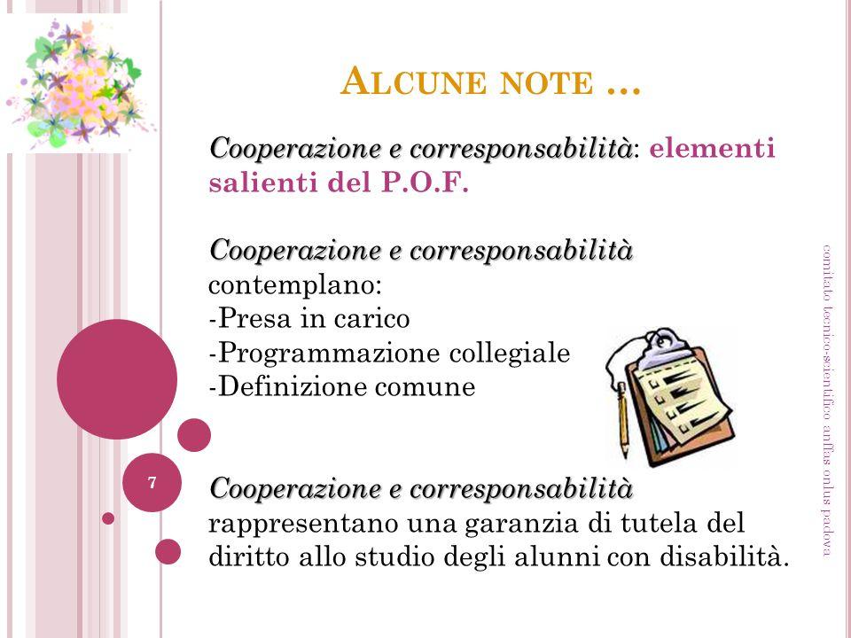 Alcune note … Cooperazione e corresponsabilità: elementi salienti del P.O.F. Cooperazione e corresponsabilità contemplano: