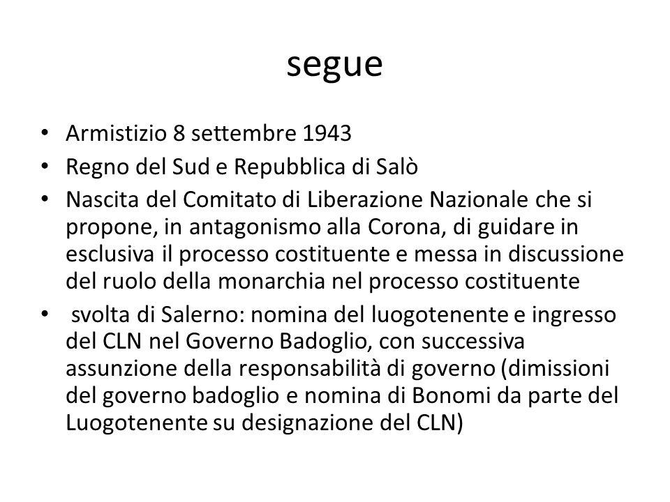 segue Armistizio 8 settembre 1943 Regno del Sud e Repubblica di Salò