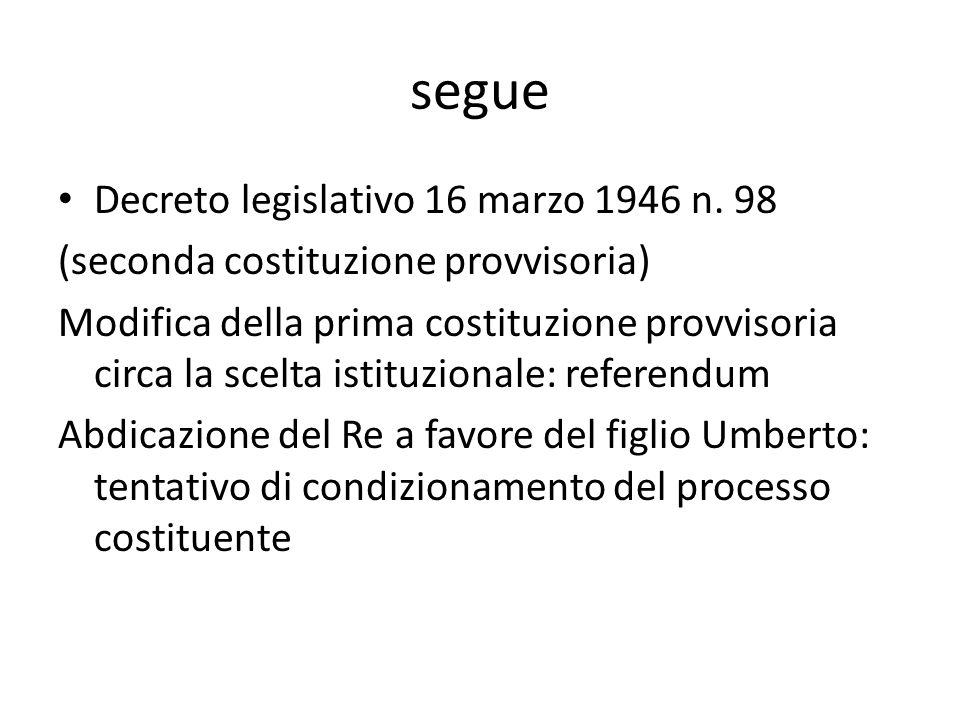 segue Decreto legislativo 16 marzo 1946 n. 98