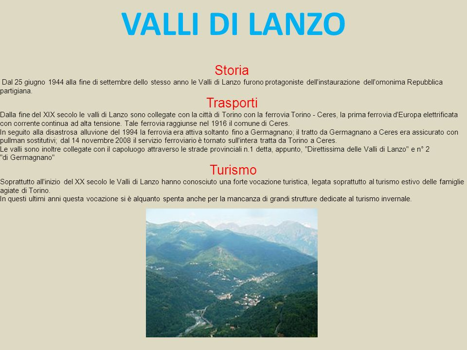 VALLI DI LANZO Storia Trasporti Turismo