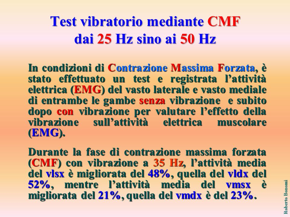 Test vibratorio mediante CMF dai 25 Hz sino ai 50 Hz