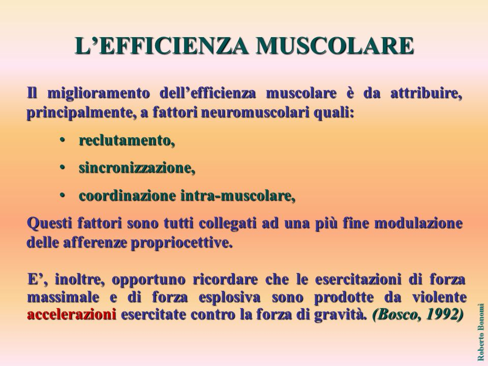 L'EFFICIENZA MUSCOLARE