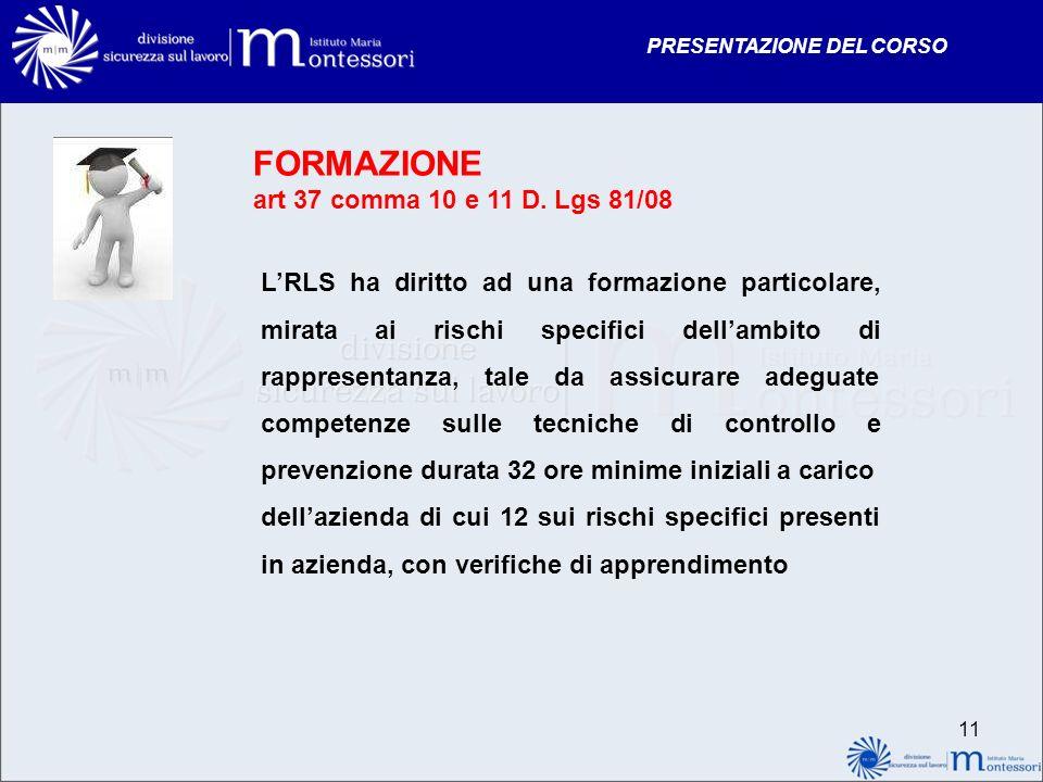 FORMAZIONE art 37 comma 10 e 11 D. Lgs 81/08