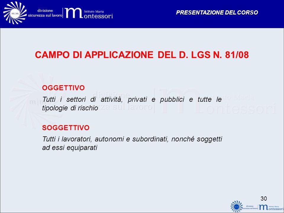 CAMPO DI APPLICAZIONE DEL D. LGS N. 81/08