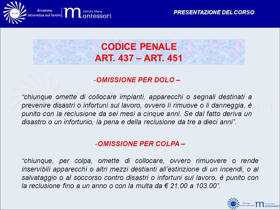 CODICE PENALE ART. 437 – ART. 451 OMISSIONE PER DOLO –