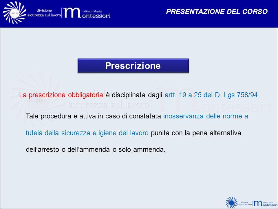 Prescrizione PRESENTAZIONE DEL CORSO