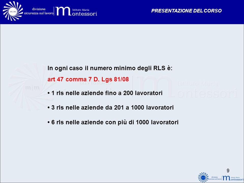 In ogni caso il numero minimo degli RLS è: art 47 comma 7 D. Lgs 81/08
