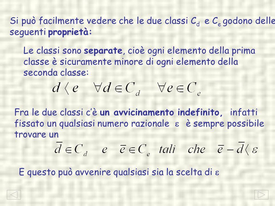 Si può facilmente vedere che le due classi Cd e Ce godono delle seguenti proprietà: