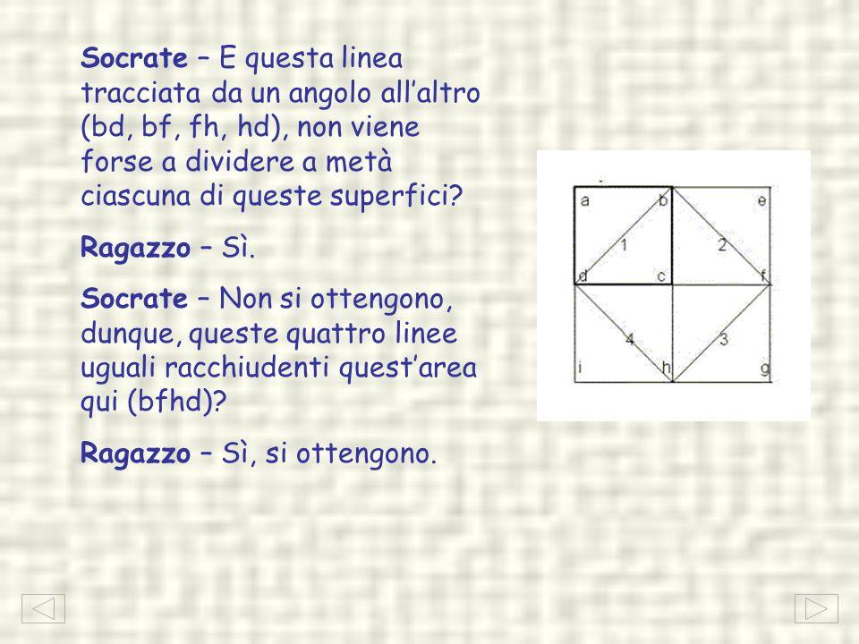 Socrate – E questa linea tracciata da un angolo all'altro (bd, bf, fh, hd), non viene forse a dividere a metà ciascuna di queste superfici