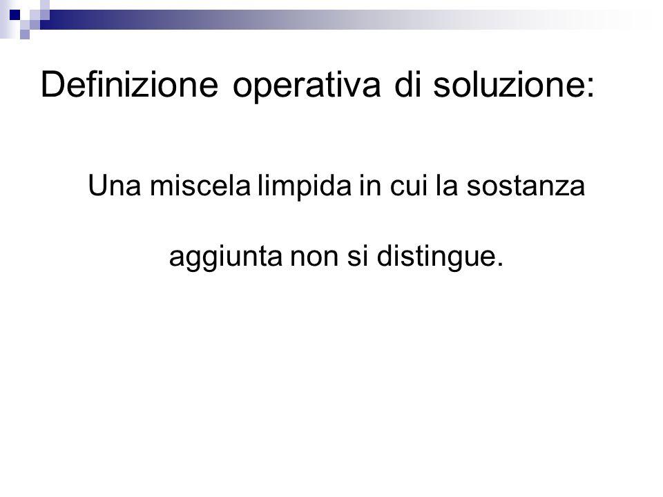Definizione operativa di soluzione: