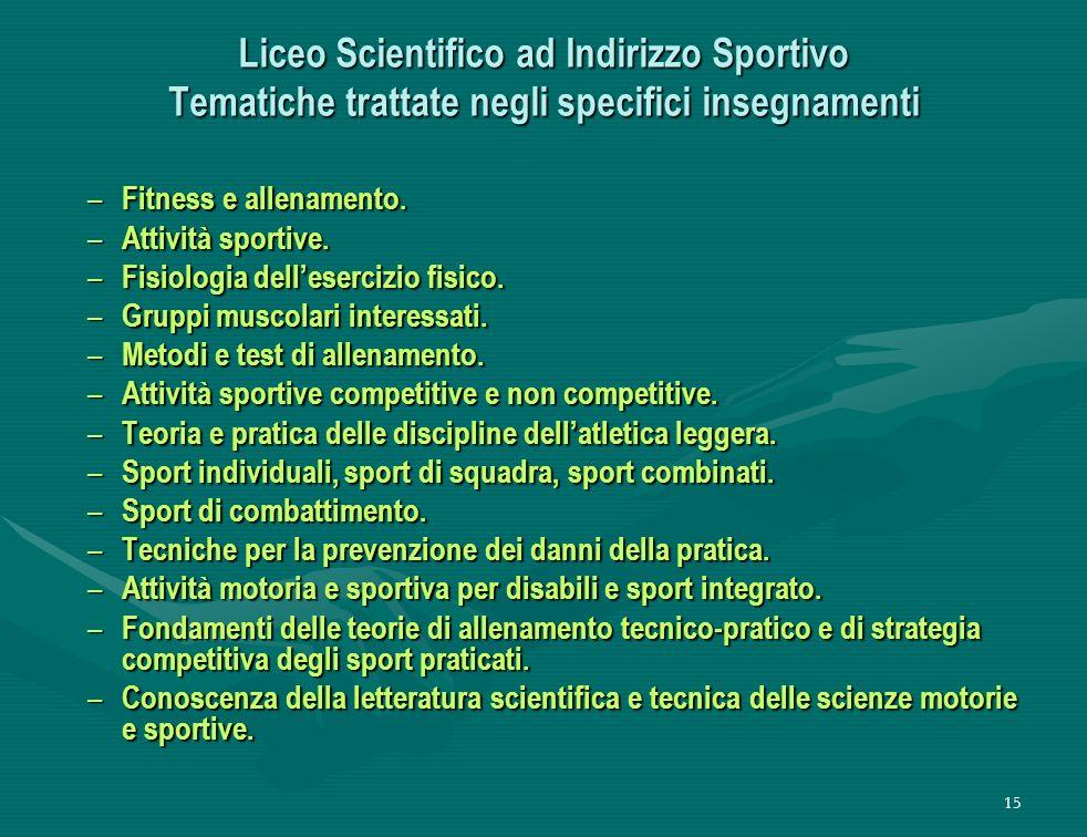 Liceo Scientifico ad Indirizzo Sportivo Tematiche trattate negli specifici insegnamenti