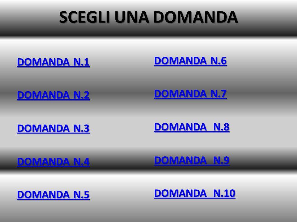 SCEGLI UNA DOMANDA DOMANDA N.1 DOMANDA N.2 DOMANDA N.3 DOMANDA N.4 DOMANDA N.5 DOMANDA N.6 DOMANDA N.7 DOMANDA N.8 DOMANDA N.9 DOMANDA N.10