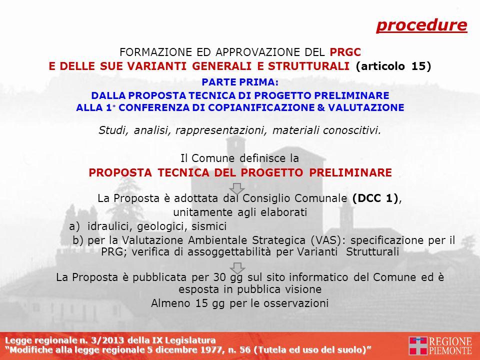 procedure FORMAZIONE ED APPROVAZIONE DEL PRGC