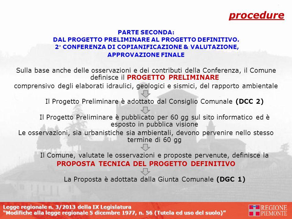procedure PARTE SECONDA: DAL PROGETTO PRELIMINARE AL PROGETTO DEFINITIVO. 2° CONFERENZA DI COPIANIFICAZIONE & VALUTAZIONE,