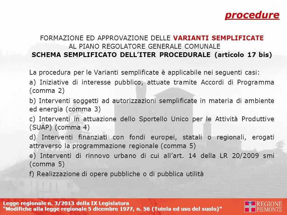 SCHEMA SEMPLIFICATO DELL'ITER PROCEDURALE (articolo 17 bis)