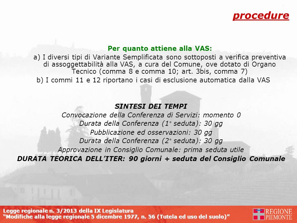 DURATA TEORICA DELL'ITER: 90 giorni + seduta del Consiglio Comunale