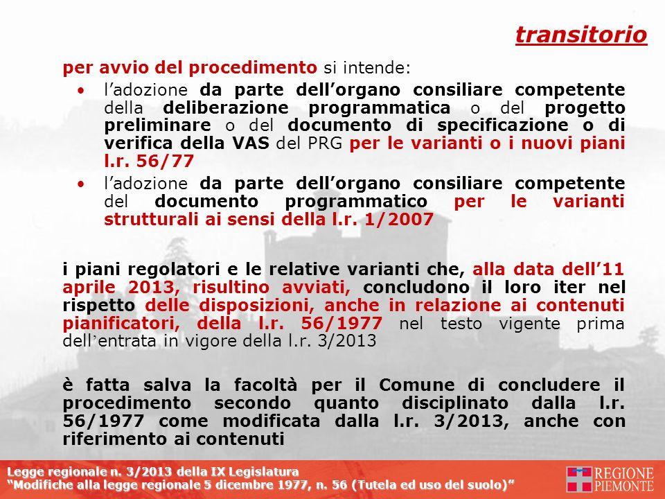 transitorio per avvio del procedimento si intende: