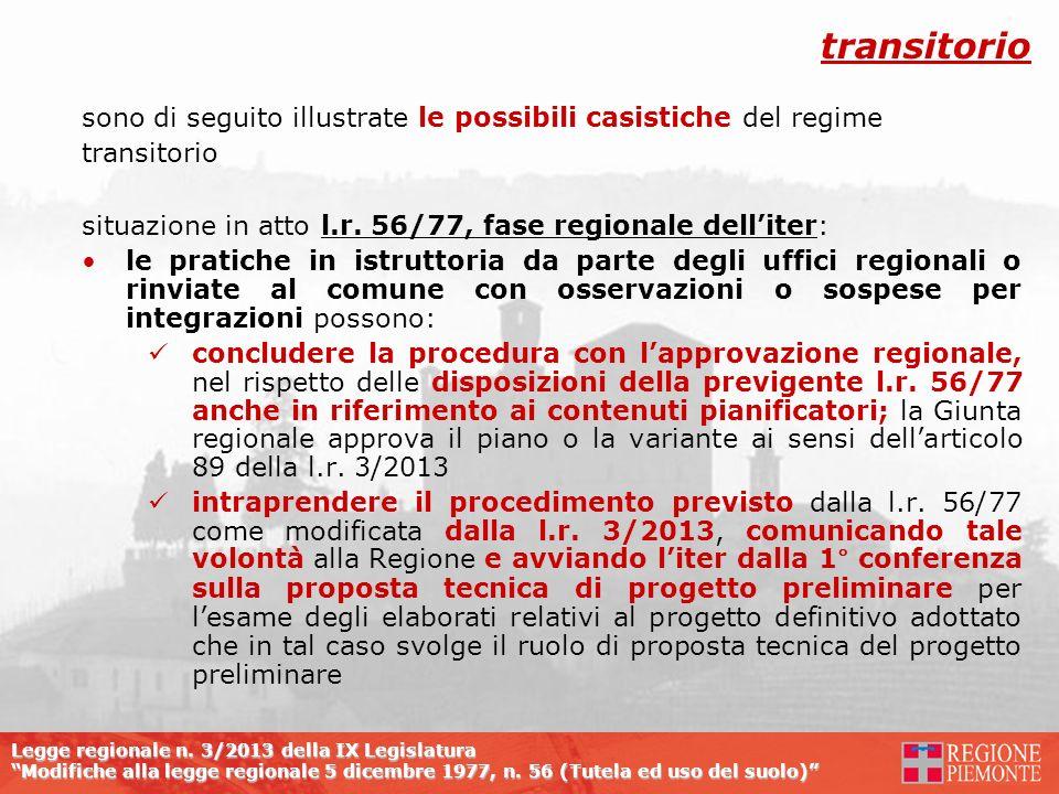 transitorio sono di seguito illustrate le possibili casistiche del regime. transitorio. situazione in atto l.r. 56/77, fase regionale dell'iter: