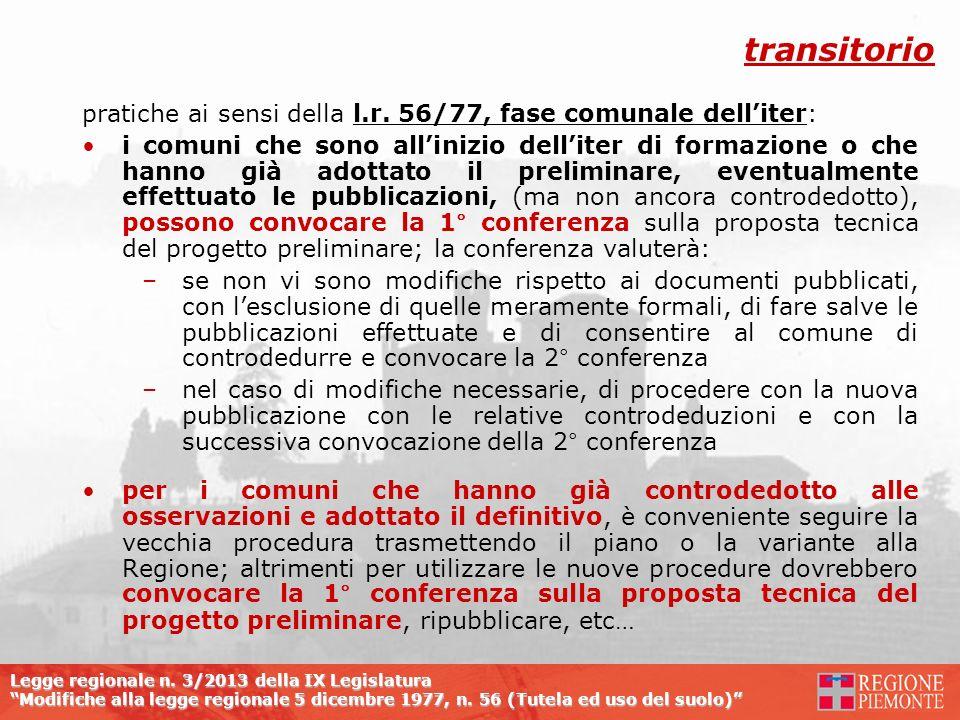 transitorio pratiche ai sensi della l.r. 56/77, fase comunale dell'iter: