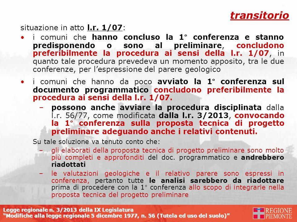 transitorio situazione in atto l.r. 1/07: