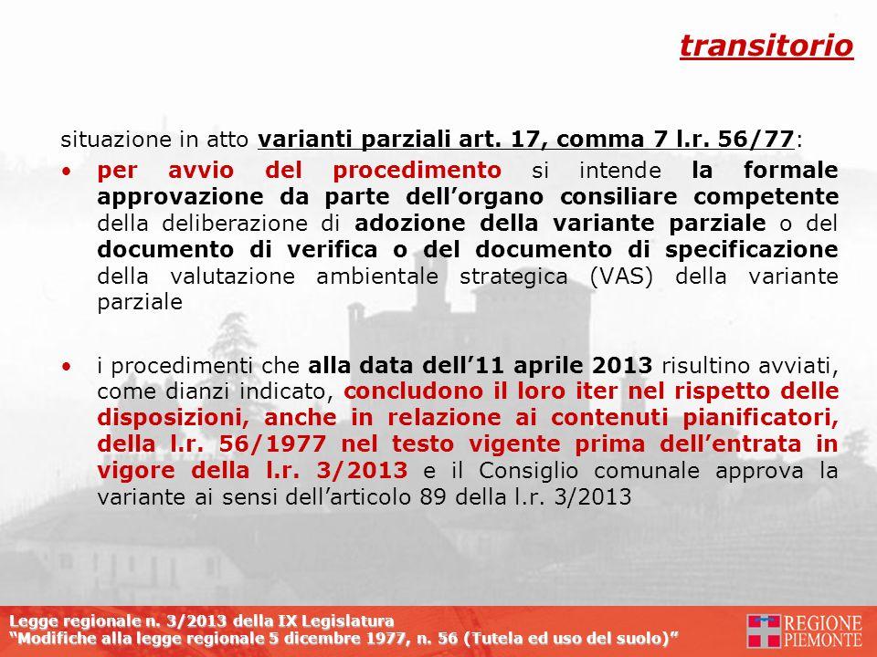 transitorio situazione in atto varianti parziali art. 17, comma 7 l.r. 56/77: