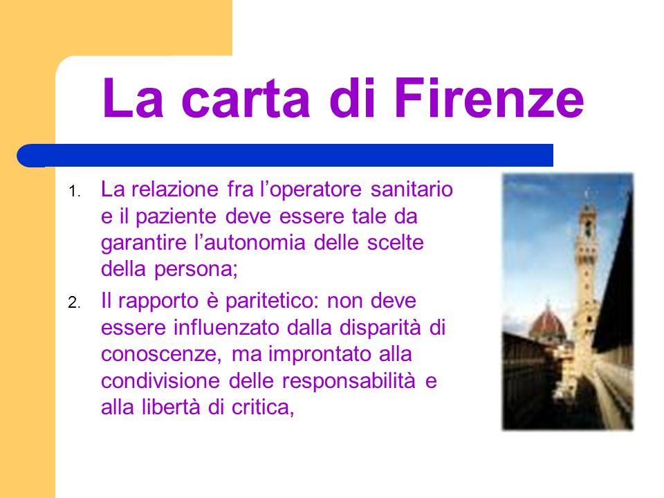 La carta di Firenze La relazione fra l'operatore sanitario e il paziente deve essere tale da garantire l'autonomia delle scelte della persona;