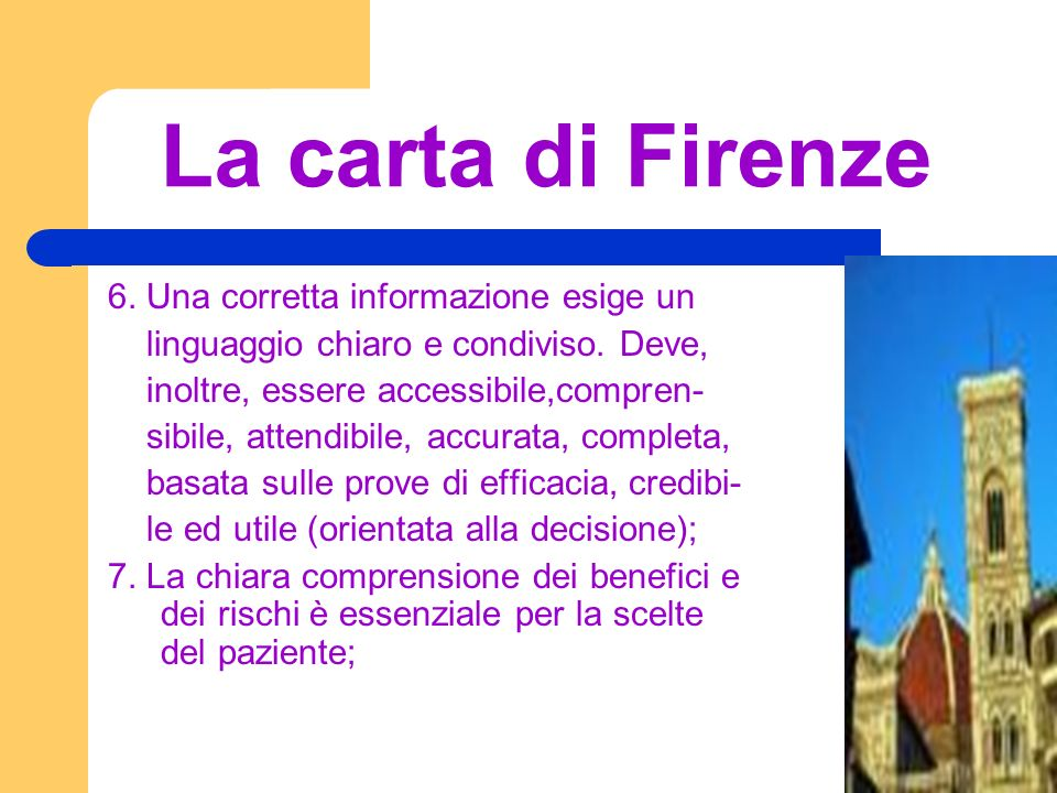 La carta di Firenze 6. Una corretta informazione esige un