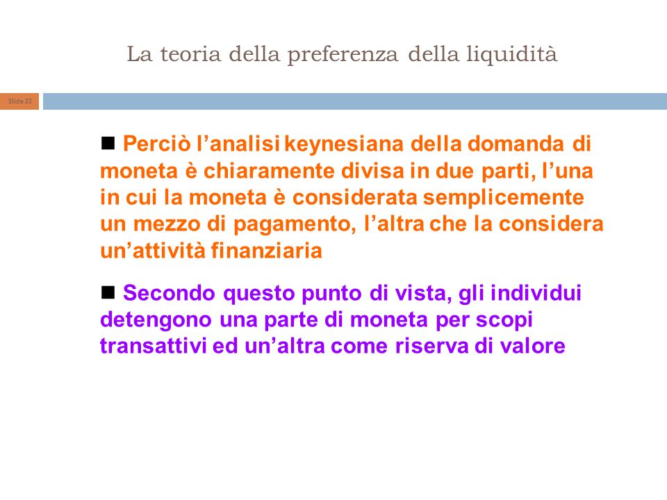 La teoria della preferenza della liquidità