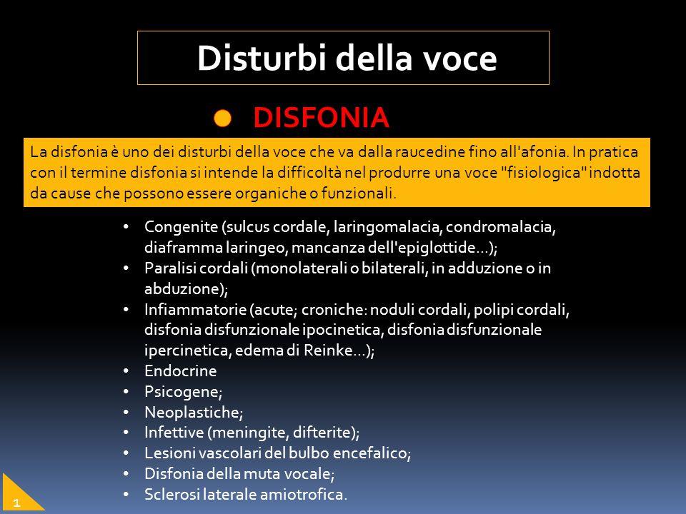 Disturbi della voce DISFONIA