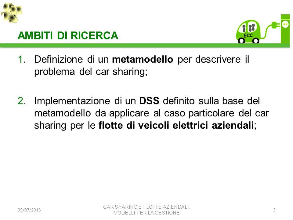 AMBITI DI RICERCA Definizione di un metamodello per descrivere il problema del car sharing;