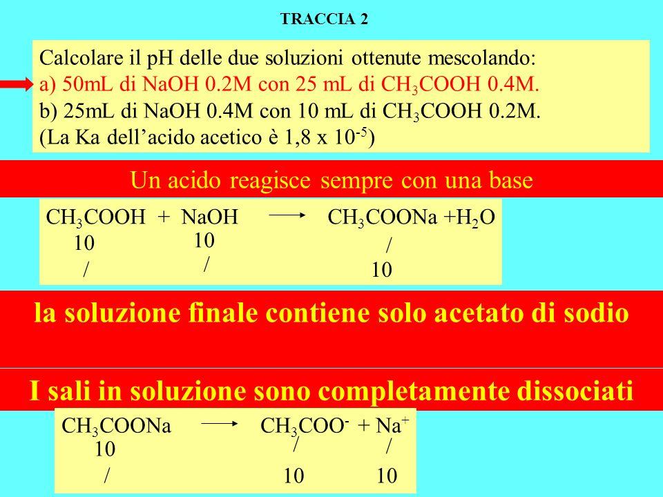 la soluzione finale contiene solo acetato di sodio