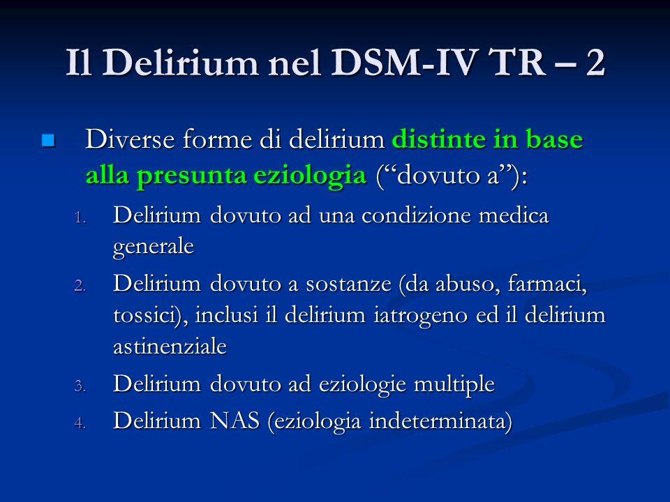Il Delirium nel DSM-IV TR – 2