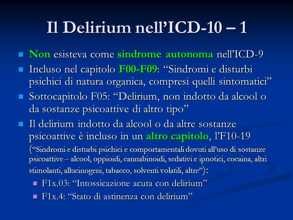 Il Delirium nell'ICD-10 – 1