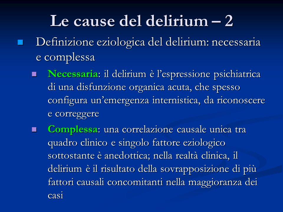 Le cause del delirium – 2 Definizione eziologica del delirium: necessaria e complessa.