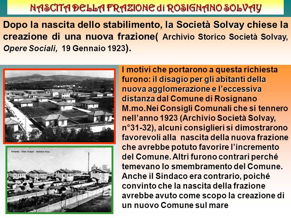 NASCITA DELLA FRAZIONE di ROSIGNANO SOLVAY
