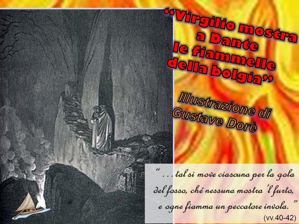 Virgilio mostra a Dante le fiammelle della bolgia Illustrazione di